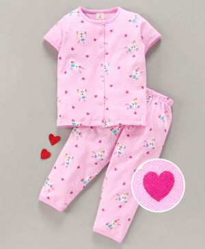 Baby Naturelle & Me Half Sleeves Night Suit Bunny Print - Pink
