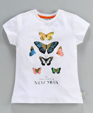 Lazy Bones Short Sleeves Cotton Tee Glittery Butterfly Print - White