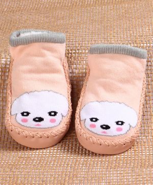 Hoppipola Puppy Pattern Sock Shoes - Pink
