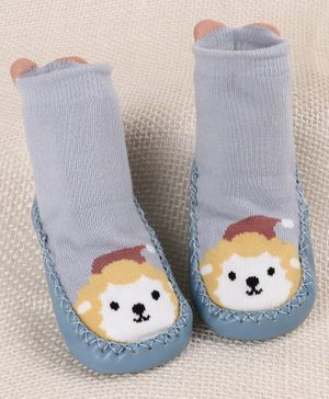 Hoppipola Puppy Pattern Sock Shoes - Blue