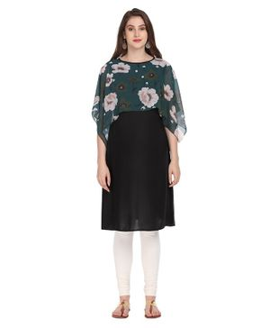 Morph Maternity Flower Print Half Sleeves Cape Style Nursing Kurta - Green & Black