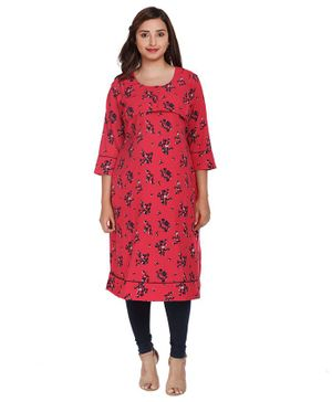 Morph Bunch Of Flowers Printed Three Fourth Sleeves Maternity Kurta - Pink