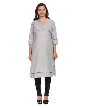 Morph Striped Three Fourth Sleeves Maternity Kurta - Black & White
