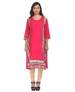 Morph Striped Three Fourth Sleeves Maternity Kurti - Pink