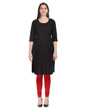 Morph Printed Three Fourth Sleeves Maternity Kurta - Black