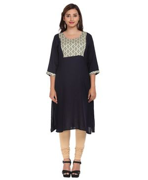 Morph Floral Printed Three Fourth Sleeves Maternity Kurta - Navy Blue