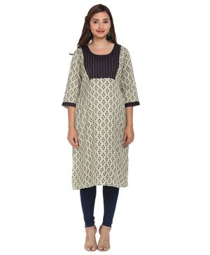 Morph Printed Three Fourth Sleeves Maternity Kurta - Pista Green