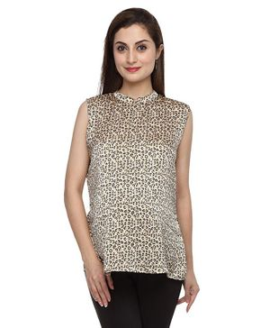 Morph Maternity Sleeveless Leopard Print Mandarin Collar Neck Top - Cream