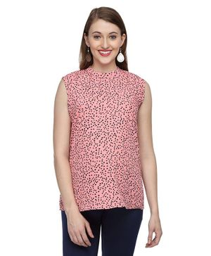 Morph Maternity Sleeveless Triangle Print Top - Pink
