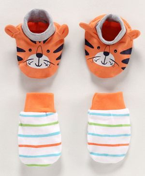 Babyoye Cotton Mittens & Booties Set Tiger Print - Orange