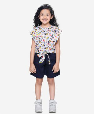 Lilpicks Couture Bird Print Ruffle Short Sleeves Top With Belted Shorts Set - White