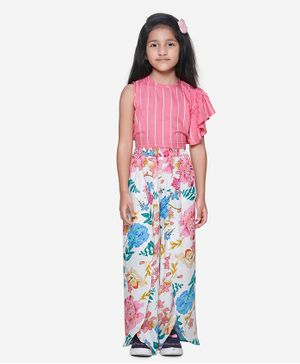 Lilpicks Couture Sleeveless Striped Ruffle Top With Floral Print Pants - Pink