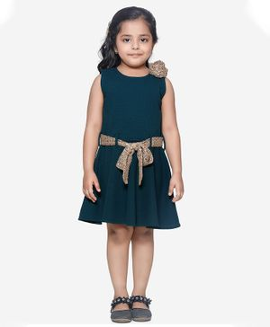 Lilpicks Couture Flower Decorated Sleeveless Dress - Teal