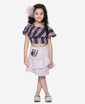 Lilpicks Couture Stripe Flared Half Sleeves Top With Skirt Set - Navy Blue