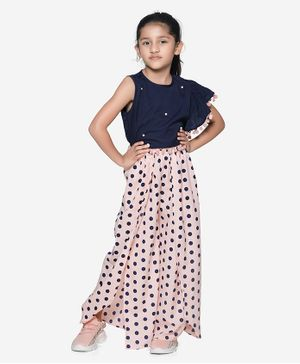 Lilpicks Couture Sleeveless Ruffle Top With Polka Print Pants - Navy