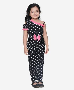 Lilpicks Couture Polka Print With Neon Detailing Half Sleeves Full Jumpsuit - Black
