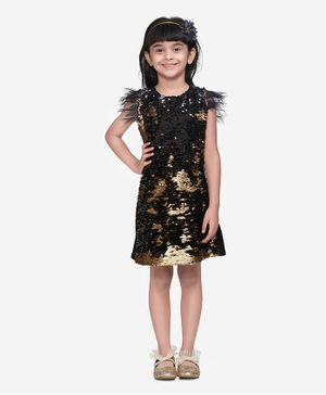 Lilpicks Couture All Over Sequin Feather Sleeveless Dress - Golden
