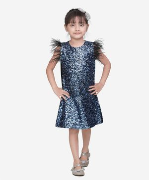 Lilpicks Couture All Over Sequin Feather Sleeveless Dress - Blue