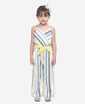 Lilpicks Couture Striped Sleeveless Jumpsuit - Off White