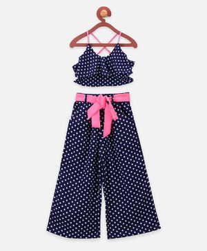 Lilpicks Couture Sleeveless Polka Dot Print Styled Back Crop Top With Flared Pants - Blue