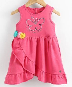 Babyoye Lycra Sleeveless Layered Frock Butterfly Embroidery - Pink