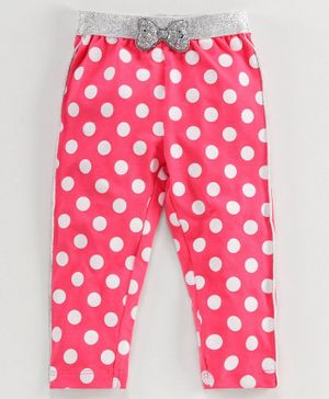 Babyoye Cotton Lycra Full Length Leggings Polka Dot Print - Pink