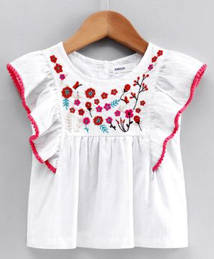 Babyoye Cotton Flutter Sleeves Top Floral Embroidery - White