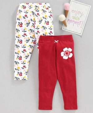 Babyhug Full Length Leggings Floral Print Pack of 2 - White Red