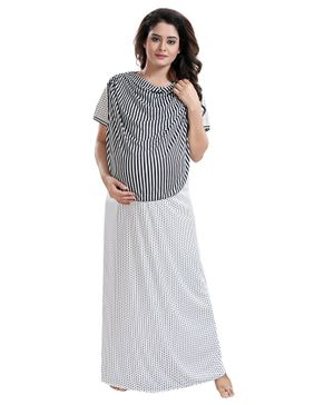 Fabme Half Sleeves Striped Detailing Maternity Nighty - Black