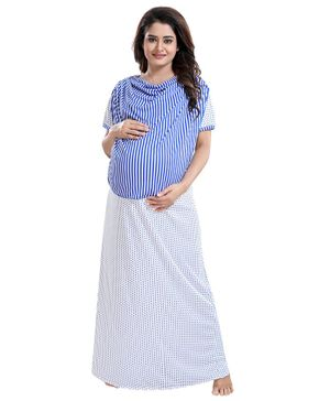 Fabme Half Sleeves Striped Detailing Maternity Nighty - Blue