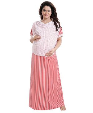 Fabme Striped Half Sleeves Polka Dot Print Detailing Maternity Nighty - Red