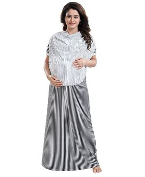 Fabme Striped Half Sleeves Polka Dot Print Detailing Maternity Nighty - Black