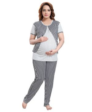 Fabme Half Sleeves Striped Maternity Night Suit - Black