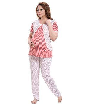 Fabme Half Sleeves Striped Maternity Night Suit - Red