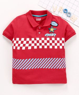 Babyhug Half Sleeves Tee Car Print - Red
