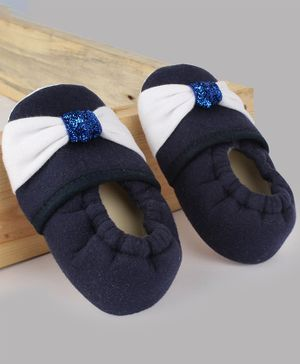 Daizy Bow Detailed Booties - Navy Blue
