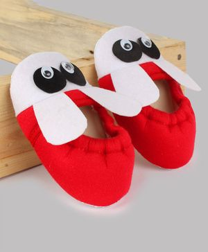 Daizy Bunny Ear Applique Booties - Red