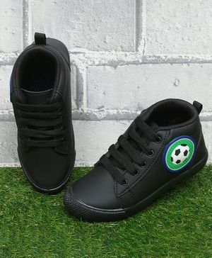 D'chica Bro Football Patch Detailed Ankle Length Shoes - Black