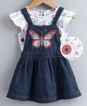 Babyoye Dungaree Frock with Flutter Sleeves Inner Tee Butterfly Embroidered - Blue White