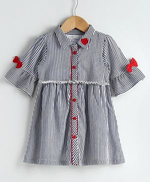 Babyoye Cotton Three Fourth Sleeves Striped Frock  - White Black