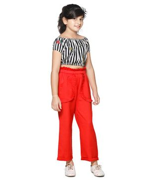Cutiekins Striped Short Sleeves Top With Ruffle Detail Pants - White Red