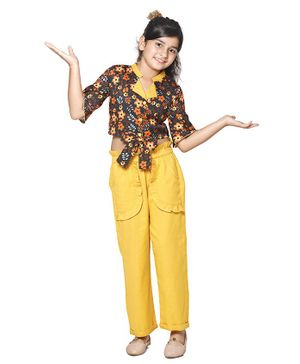 Cutiekins Three Fourth Sleeves Flower Printed Top With Solid Pants - Orange Yellow