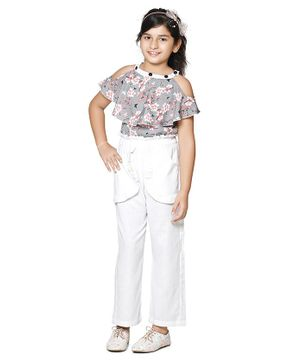 Cutiekins Flower Print Half Sleeves Cold Shoulder Top With Pants - Grey White