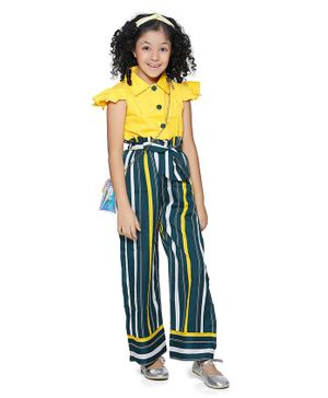 Cutiekins Cap Sleeves Solid Collared Top With Striped Pants - Yellow Green