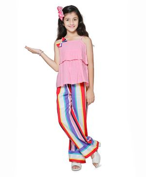 Cutiekins Bow Detailed Sleeveless Top With Striped Palazzo - Multi Colour
