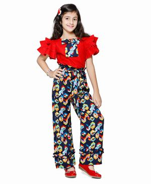 Cutiekins Bow Detailed Short Sleeves Top With Abstract Print Palazzo - Red