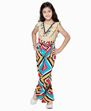 Cutiekins Tassel Lace Detailed Sleeveless Top With Abstract Print Palazzo - Multi Colur