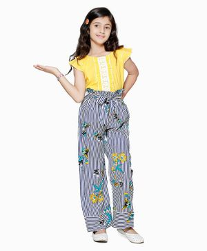 Cutiekins Half Sleeves Top With Striped Culottes Set - Yellow & Black