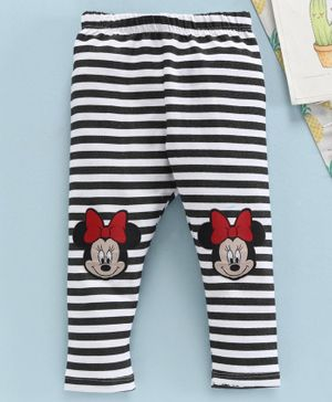 Disney by Babyhug Full Length Stripe Leggings Minnie Mouse Patch - Black White