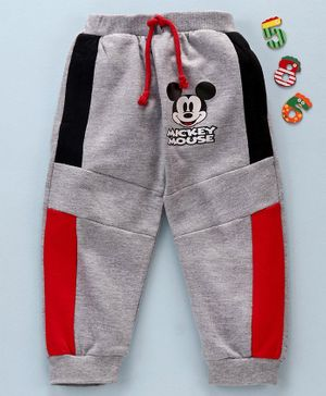Disney by Babyhug Full Length Lounge Pant Mickey Mouse Print - Grey